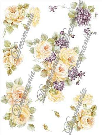 Декупажные карты Decomania 001 Желтые розы и фиалки, купить