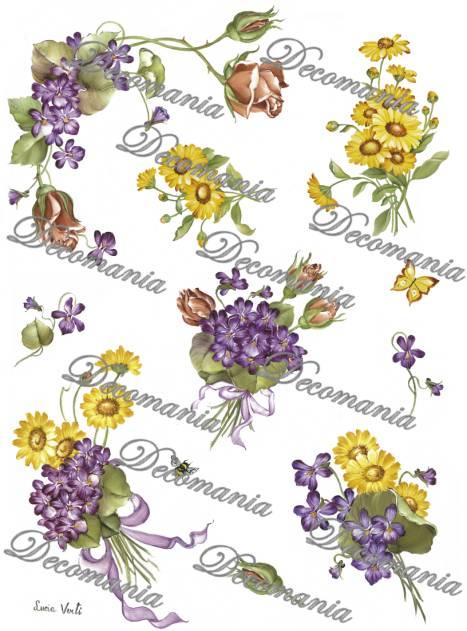 Рисовая бумага для декупажа Decomania 5004 Фиалки, розы и ромашки, купить