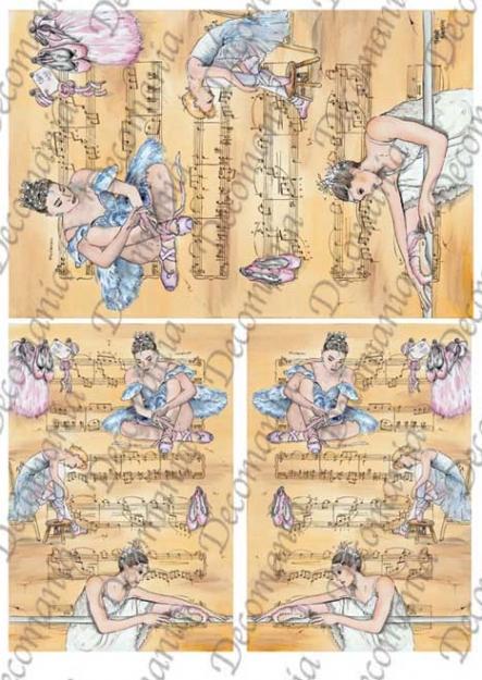 Рисовая бумага для декупажа Decomania 5061 Танец, балерина и ноты, купить