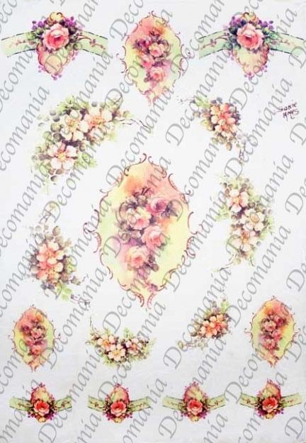 Рисовая бумага для декупажа Decomania Розы в рамочках, Sonie Ames, купить