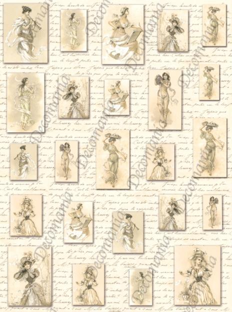 Рисовая бумага для декупажа Женский образ, винтаж, Decomania mini купить