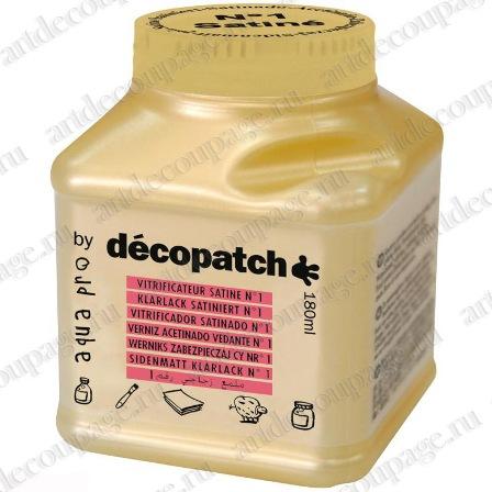 Лак защитный глянцевый для декупажа и декопатча AquaPro Satine №1, Decopatch, Франция - магазин АртДекупаж