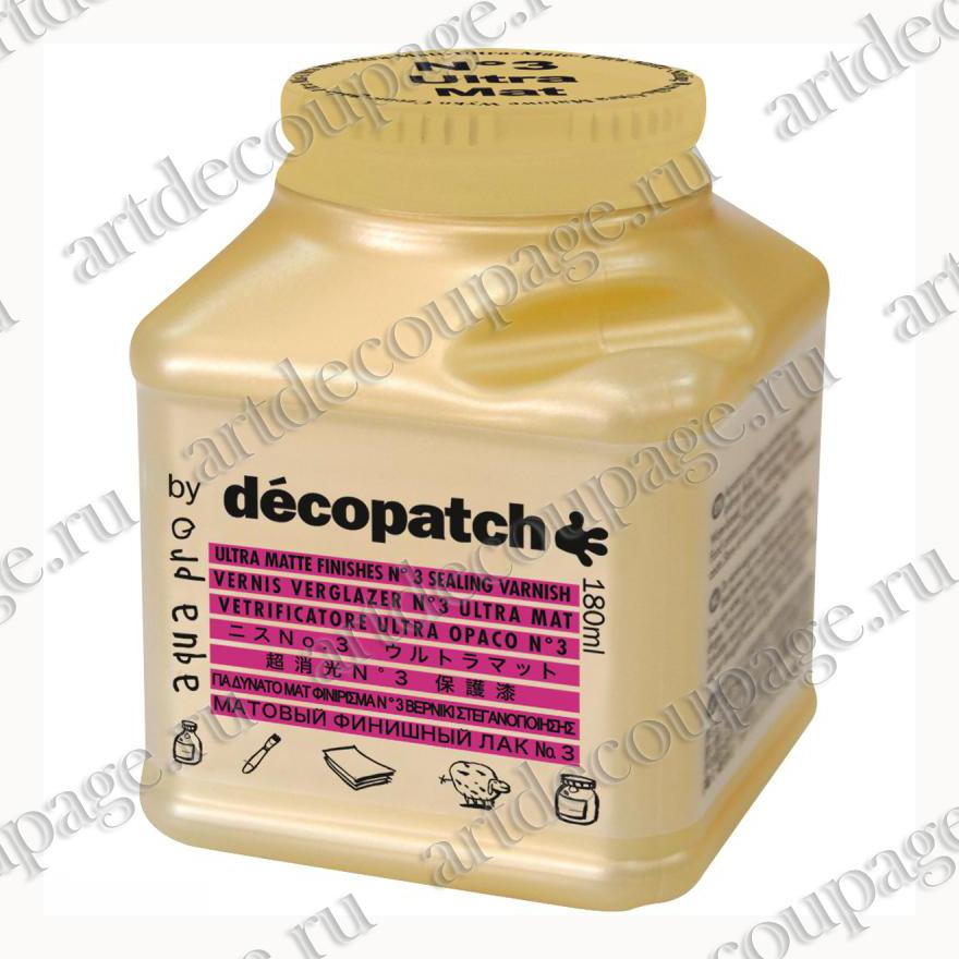 Лак защитный ультра-матовый для декопатча и декупажа Decopatch Aquapro Ultra Matt № 3, купить - магазин АртДекупаж