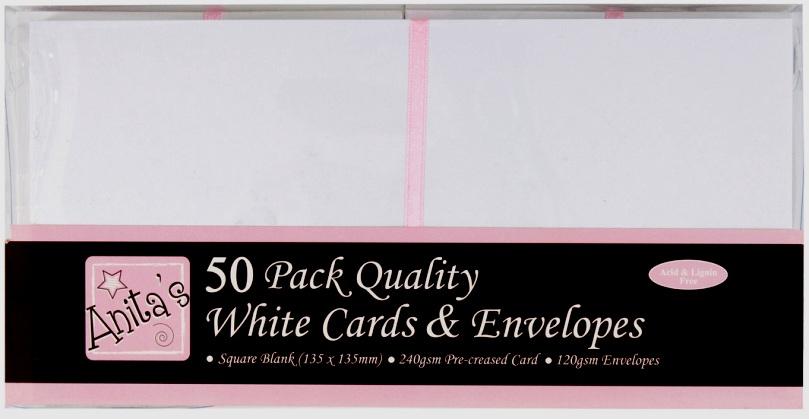 Набор заготовок для открыток с конвертами, 13,5х13,5 см, белый, ANITA'S, 50 шт