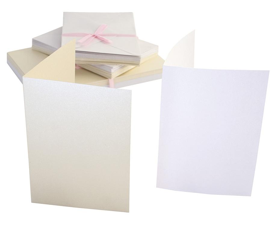 Набор заготовок для открыток с конвертами кремовые перламутровые, купить