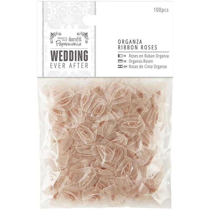Набор золотых розочек из органзы Wedding для скрапбукинга