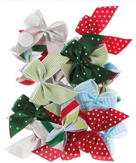 Украшения для скрапбукинга, декоративные новогодние бантики, купить - магазин АртДекупаж