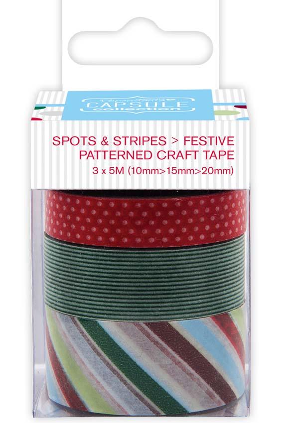 Новогодний скотч с рисунком для скрапбукинга Spots & Stripes Festive