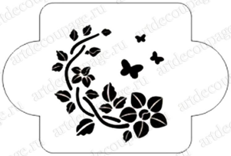 Трафареты для росписи, Цветы и бабочки, Event Design, купить