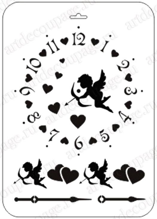 Трафарет циферблат для часов, купидоны, сердечки, Event Design, купить
