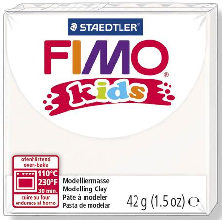 Полимерная глина FIMO Kids белый для моделирования, АртДекупаж