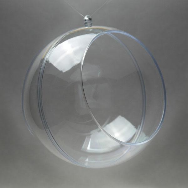 Заготовка ёлочный Шар разъемный, прозрачный пластик с окошком