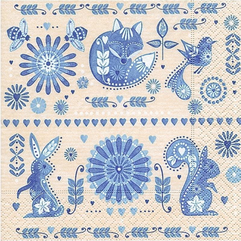 салфетка бумажная для декупажа Голубой дизайн