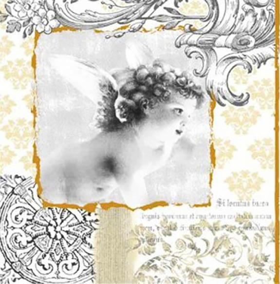 Новогодняя салфетка для декупажа Ангел барокко