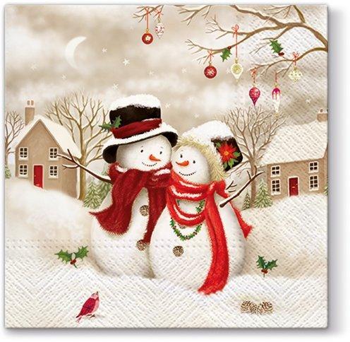 Новогодняя салфетка для декупажа Два снеговика