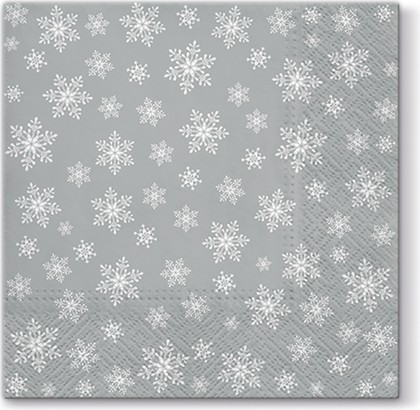 Новогодняя салфетка для декупажа Снежинки на серебряном фоне