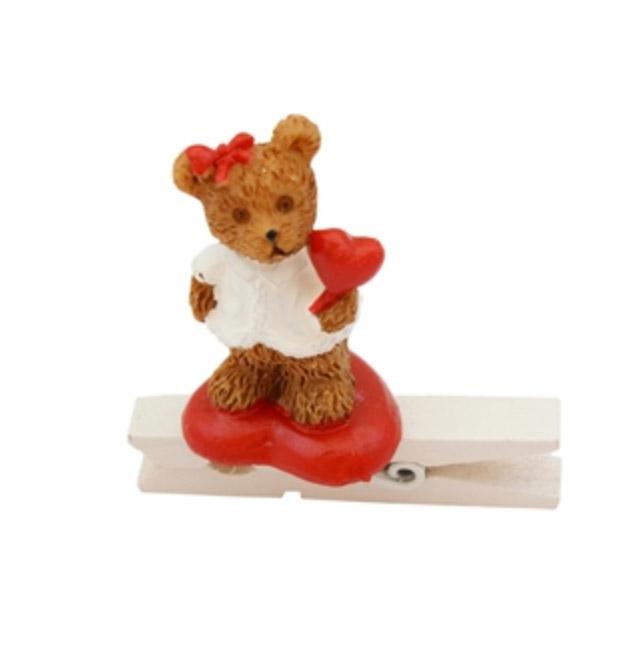 Мини прищепка декоративная Медвежонок с подарком