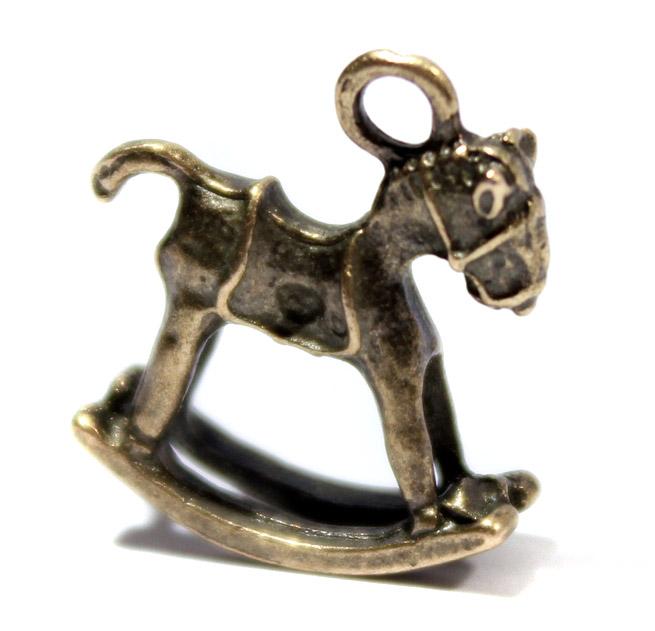 Подвески рукоделие скрапбукинг украшения, подвеска лошадка качалка бронза
