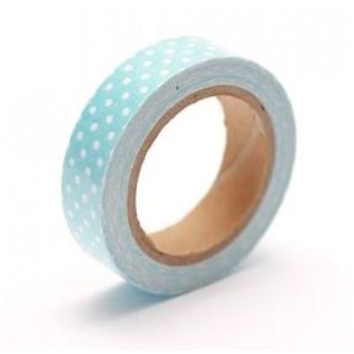 Декоративный тканевый скотч с принтом Голубой клетка, купить