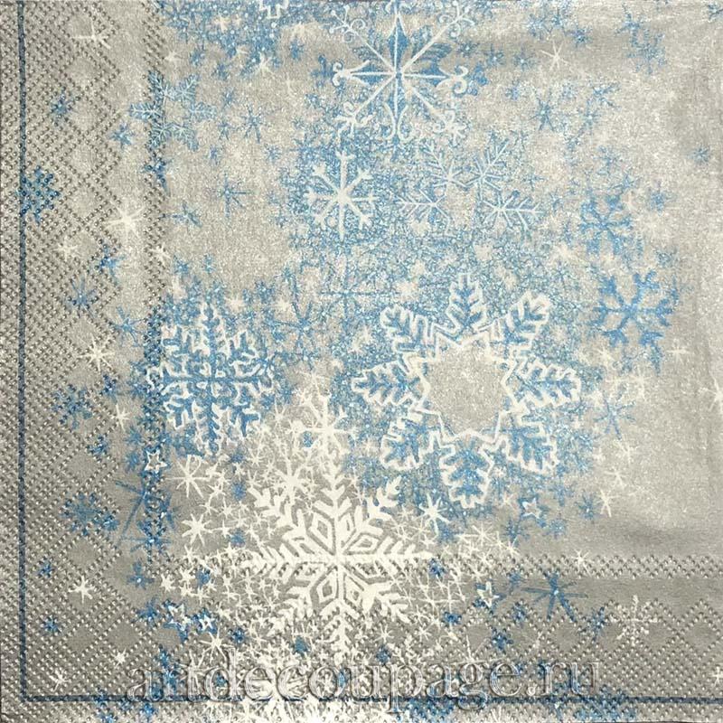 Новогодняя салфетка для декупажа Сверкающие снежинки, АртДекупаж