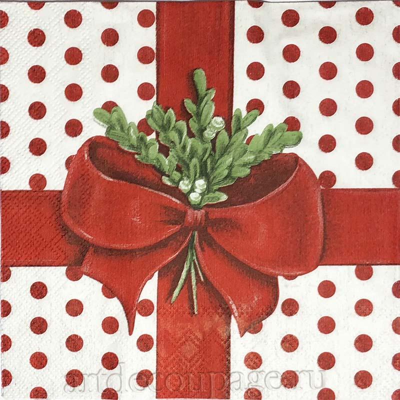Новогодняя салфетка для декупажа Зимняя веточка с бантиком, АртДекупаж