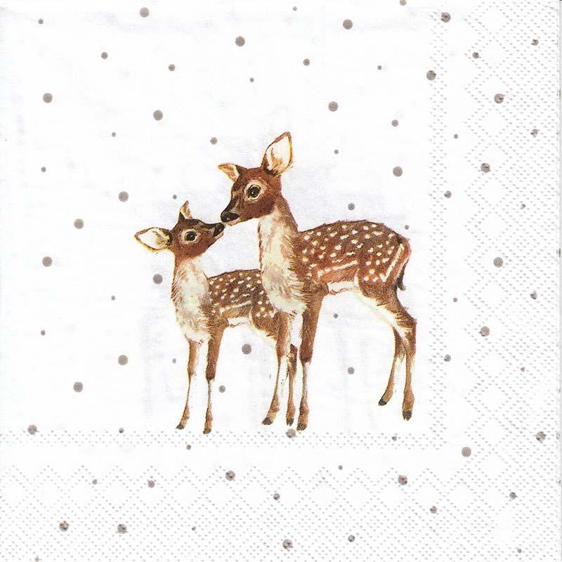 Новогодняя салфетка для декупажа Олениха с олененком, АртДекупаж