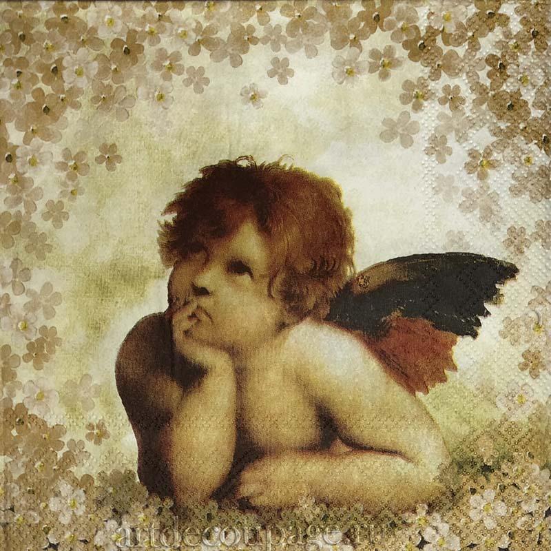 Новогодняя салфетка для декупажа Ангелы среди цветов, АртДекупаж