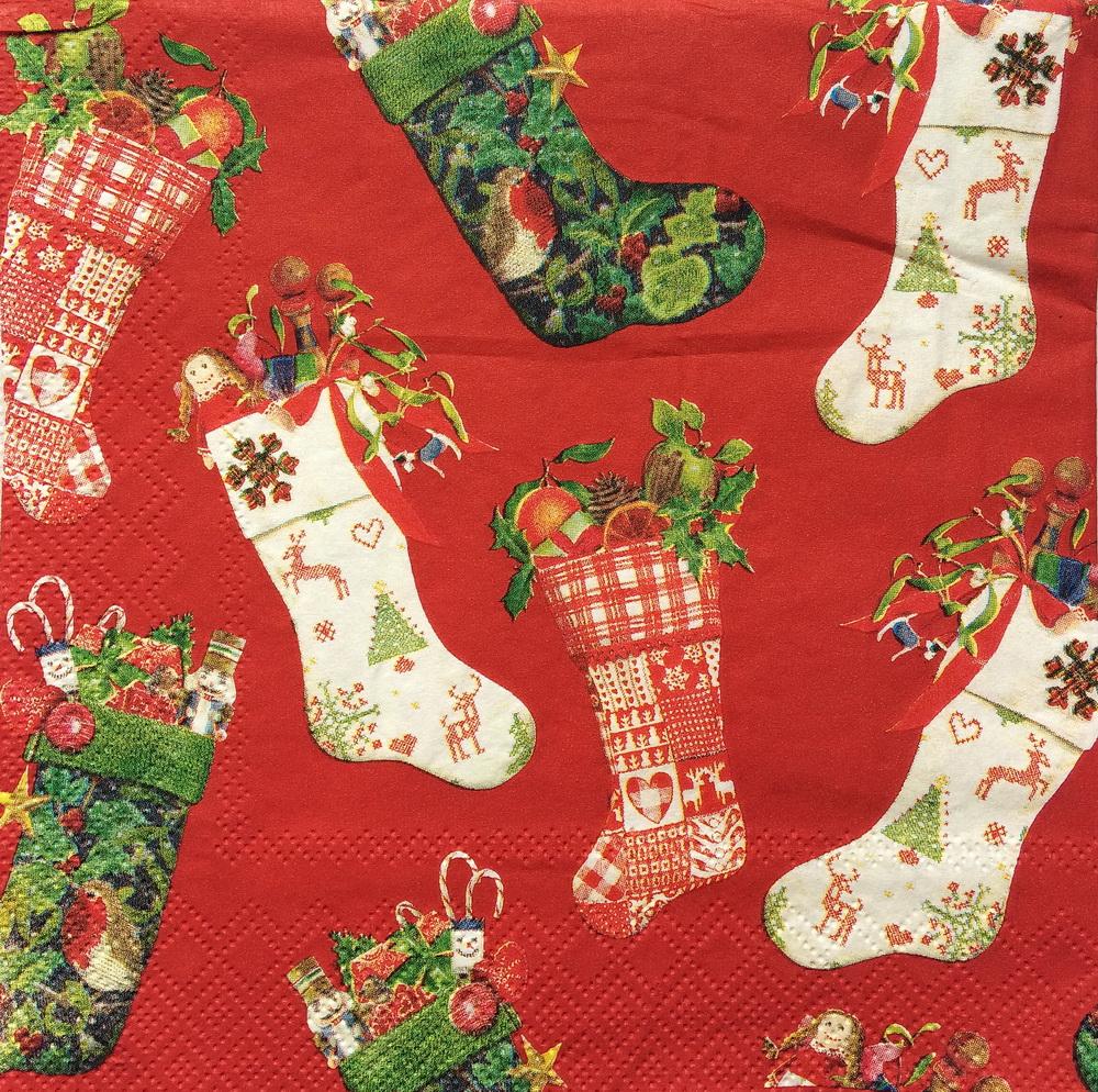 Новогодняя салфетка Рождественские носки