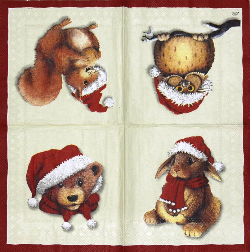 Новогодние декупажные салфетки, Заяц, сова, белка и медведь
