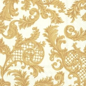 Салфетки для декупажа золотые узоры на кремовом фоне, купить- магазин АртДекупаж