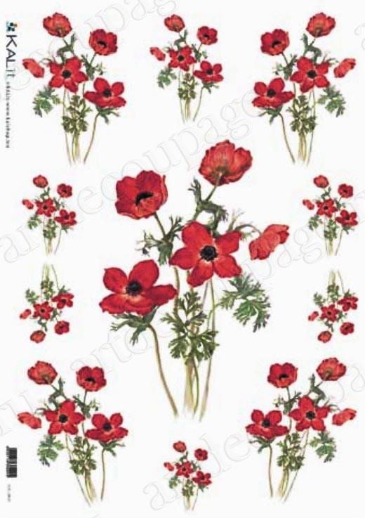 Рисовая бумага для декупажа Красные цветы Kalit