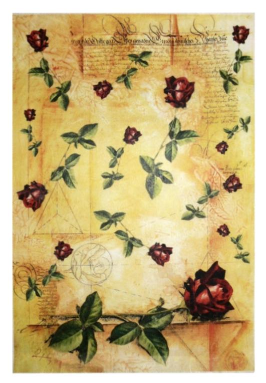 Рисовая бумага для декупажа винтаж, роза на фоне старого текста Kalit - магазин АртДекупаж