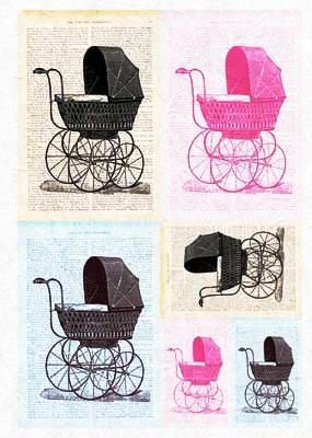 Рисовая бумага для декупажа детская, Ретро коляски, игрушки