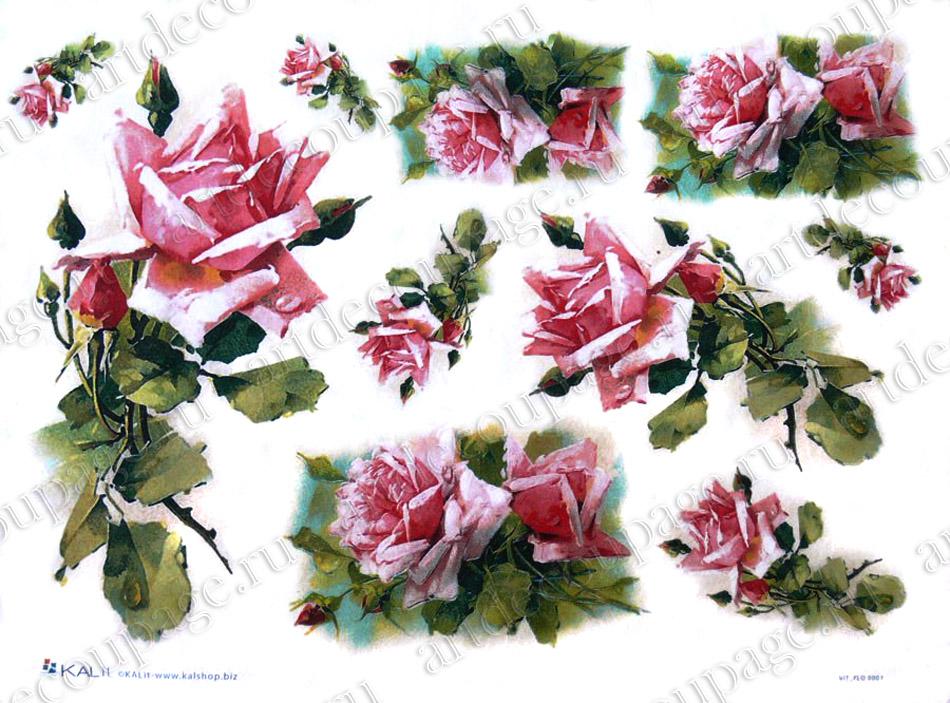 Рисовая бумага для декупажа Розовые розы Love2Art - магазин АртДекупаж