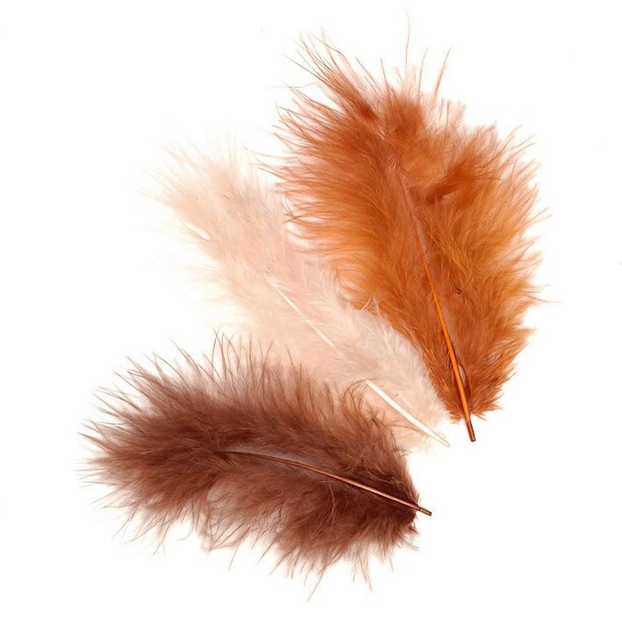 Декоративные перья марабу коричневые, набор перьев для декорирования, купить