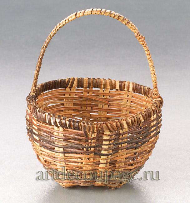 Маленькие корзинки, миниатюрная плетеная корзинка из прутьев ротанга 4см, купить - магазин АртДекупаж