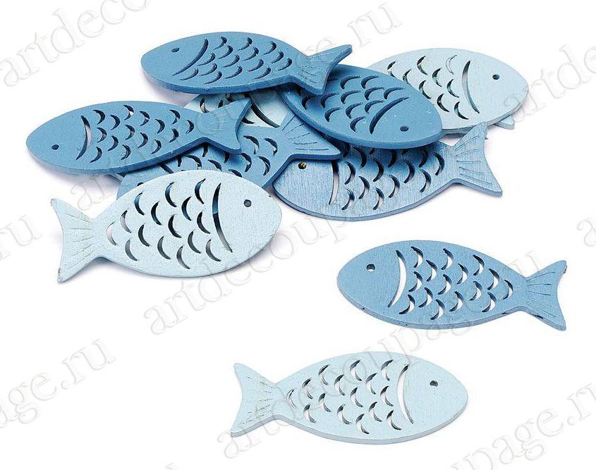 """Декоративные плоские фигурки для скрапбукинга и декора """"Рыбки синие и голубые"""", деревянные фигурки"""