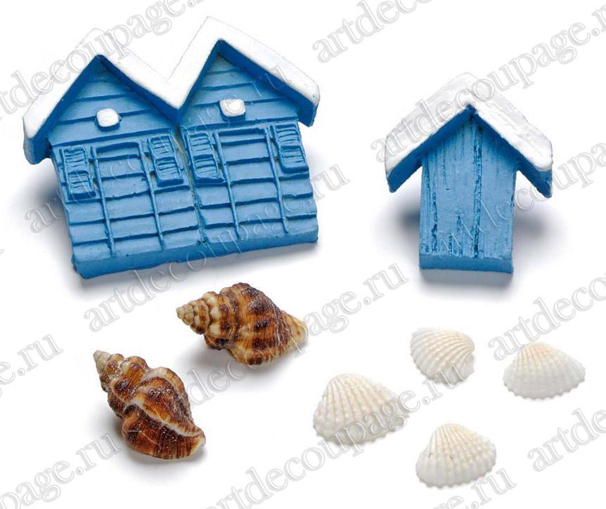 Украшения для скрапбукинга Морские домики и раковины, купить - магазин АртДекупаж