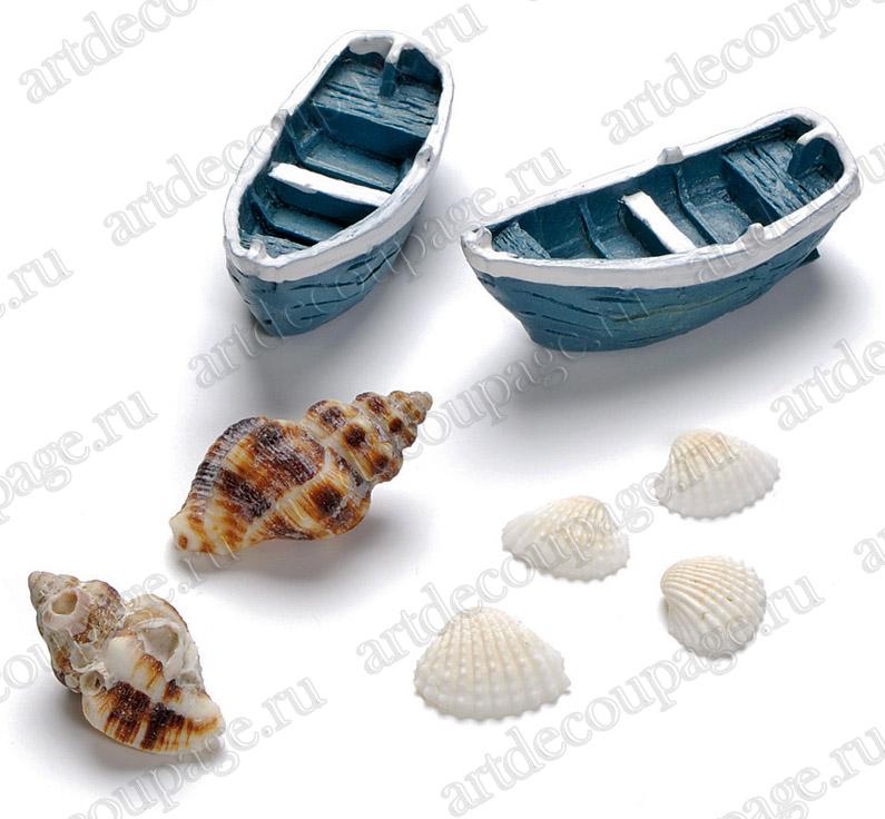 Миниатюрные предметы для объемного декора и миниатюрных композиций Морские лодки и раковины
