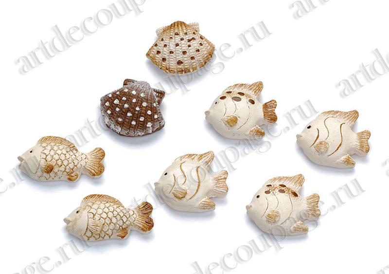 """Декоративные элементы для скрапбукинга """"Рыбки и морские раковины"""""""