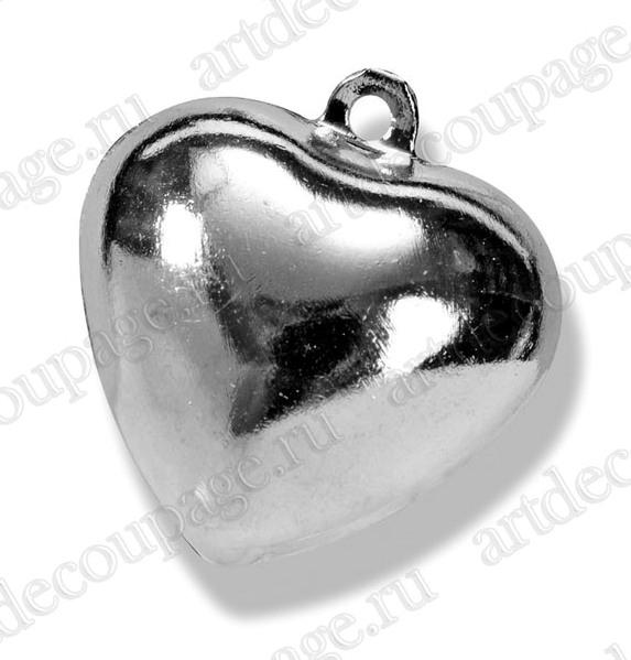 Подвески декоративные звенящие Сердце, серебристый металл, для скрапбукинга и декора - магазин АртДекупаж