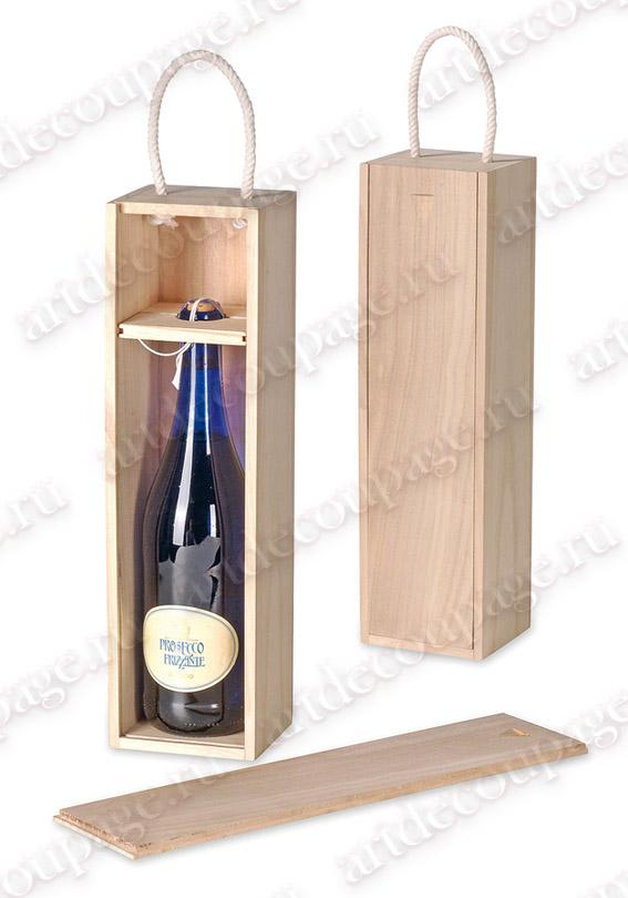 Коробка для вина с держателем, купить - магазин АртДекупаж