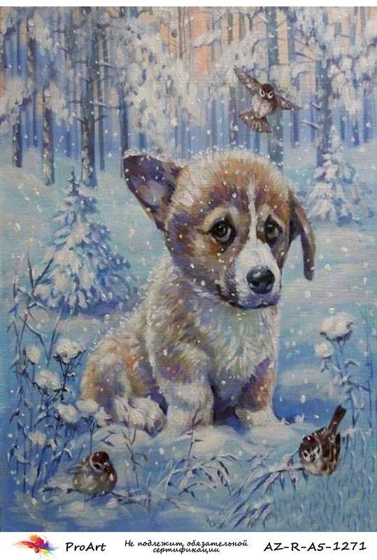 Новогодняя рисовая бумага для декупажа Собака в зимнем лесу