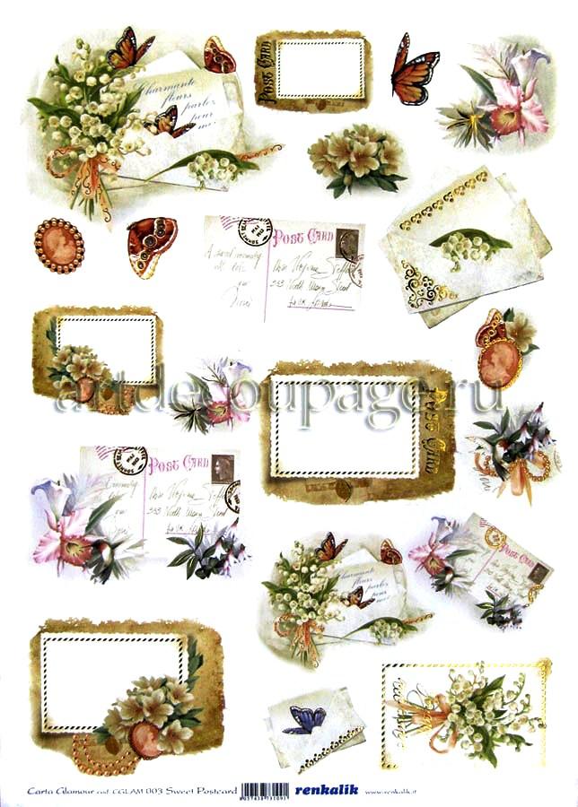 Декупажные карты с золотыми фрагментами Renkalik, Открытки, цветы, бабочки, купить