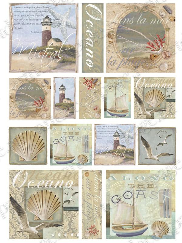 Рисовая бумага для декупажа, Море, чайки, раковины, купить