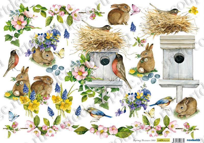 Рисовая бумага для декупажа Renkalik Весна Скворечник птички