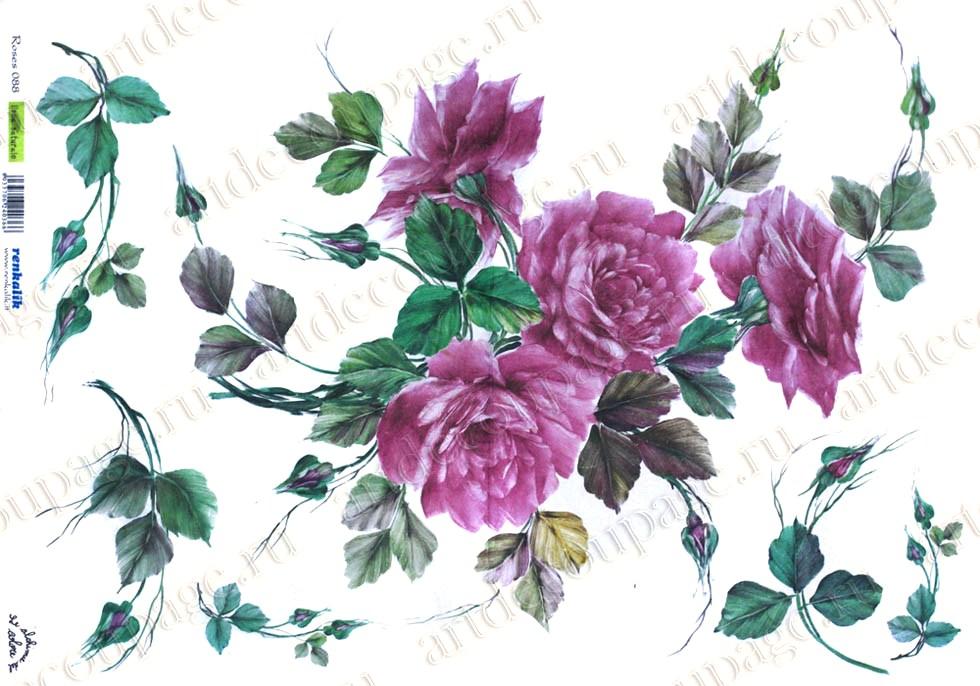 Рисовая бумага для декупажа Renkalik Розовые розы