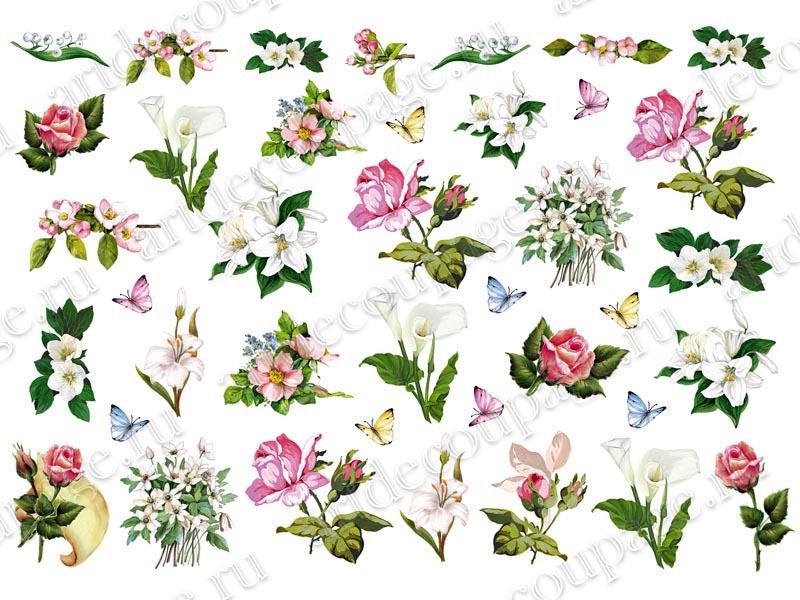 Рисовая бумага для декупажа, цветы ассорт
