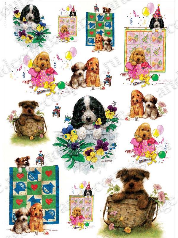 Рисовая бумага для декупажа, щенки, собаки, купить