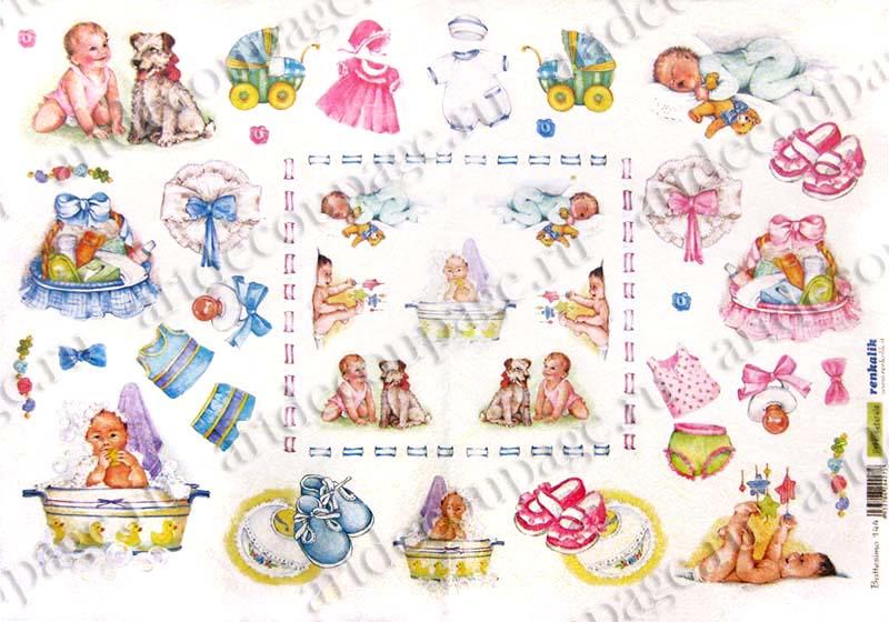 Рисовая бумага для декупажа Renkalik  детская, Купание младенца
